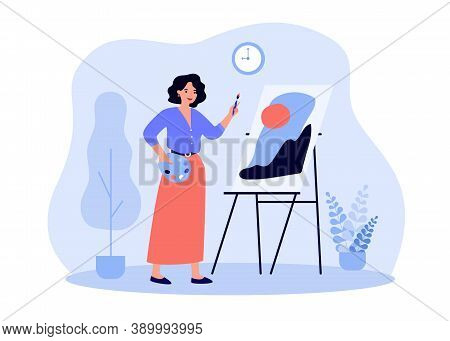 Happy Female Artist Standing At Easel And Painting Flat Vector Illustration. Cartoon Painter With Pa