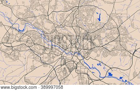 Detailed Map Of Leeds City Administrative Area. Royalty Free Vector Illustration. Cityscape Panorama