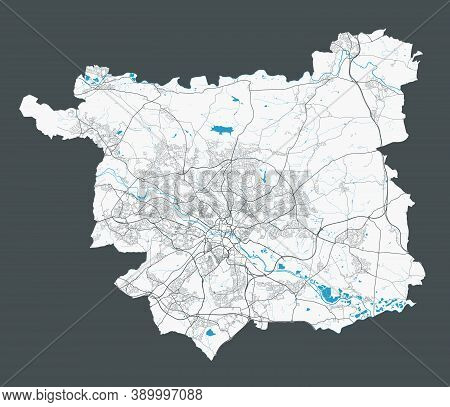 Leeds Map. Detailed Map Of Leeds City Administrative Area. Cityscape Panorama. Royalty Free Vector I