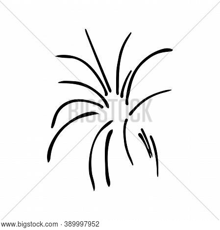 Fireworks. Drawn By Hand. Doodles. Black And White. Element Of Festive Decor. Winter Paraphernalia.
