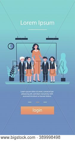 Happy Children And Teacher Standing Together In Classroom. Class, Classmates, Pupils Flat Vector Ill