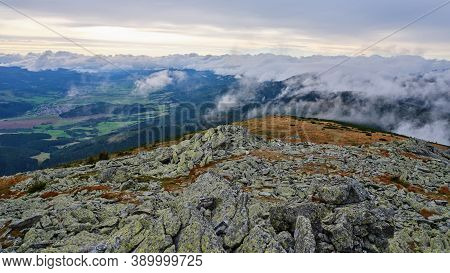 View Into The Valley With Clouds Rolling Over The Mountain Ridge Surrounding It, Low Tatras, Nizke T