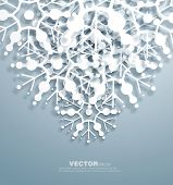 Vector   decorative  design of overlapping  snowflakes . The shadows are entirely vector based . poster