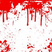 background of red splatters and drips on white background. poster