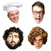 collection of person faces over white background poster