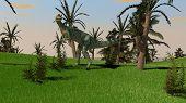 dilophosaurus dinosaurus in jungle poster