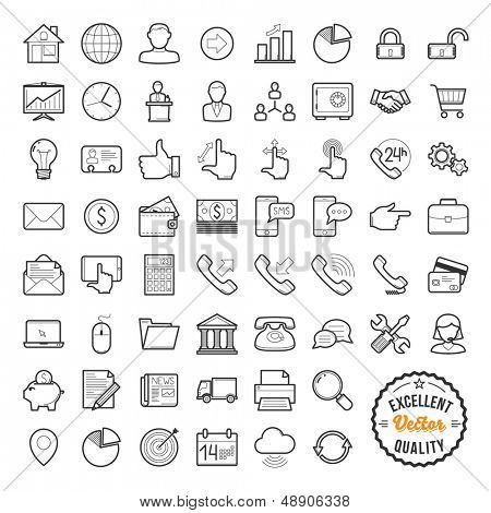 Set of web icons for business, finance and communication poster