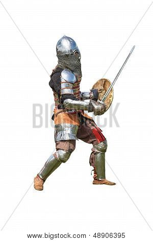 Armored Knight With Sword And Shield Isolated On White