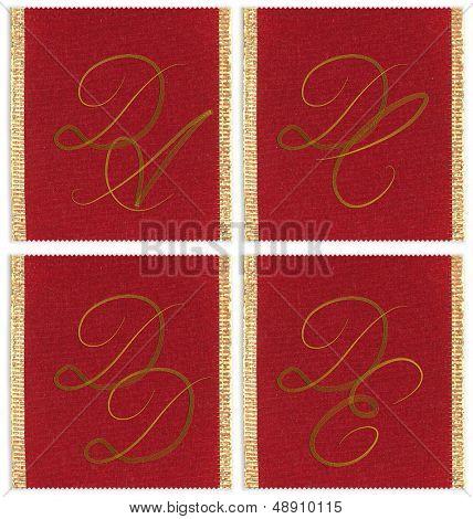 Collection of textile monograms design on a ribbon. DA, DC, DD, DE