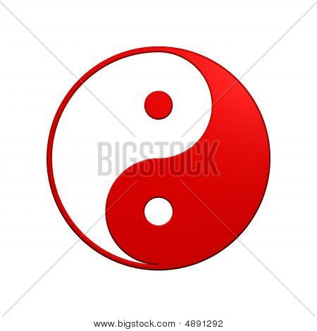Red Tai Chi - Yin Yang Sign