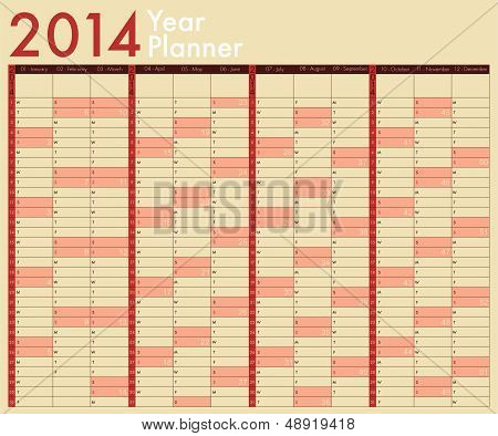 2014 Calendar. Year Planner. Week Starts On Sunday