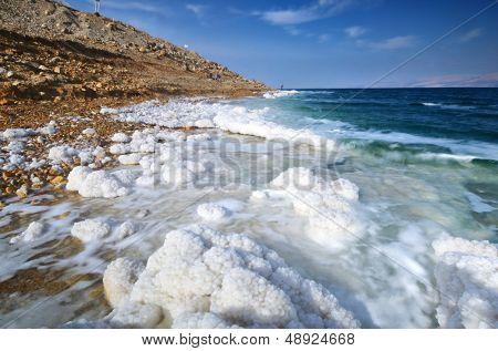 Dead Sea, Israel salt formations. poster