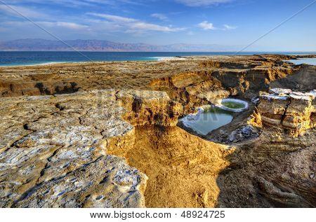 Sinkholes near the Dead Sea in Ein Gedi, Israel. poster