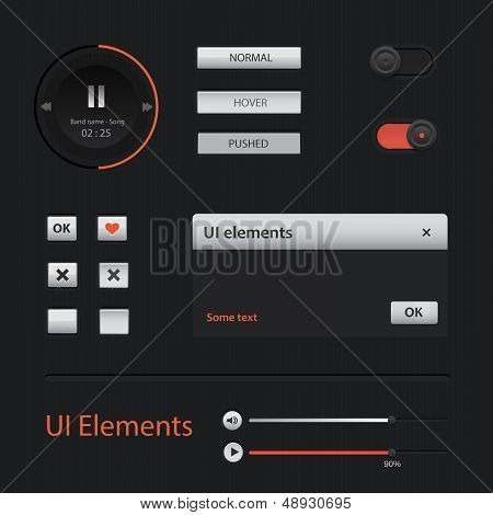 UI Web Elements: Buttons, Switchers, On, Off, Player, Audio, Video poster