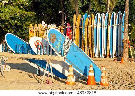 Surf Rental Shop On Waikiki Beach On Hawaii