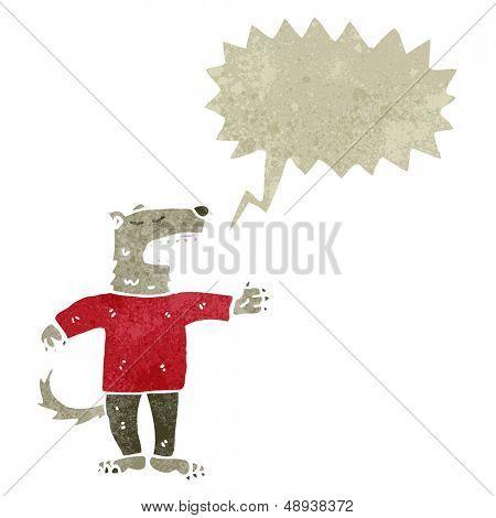 retro cartoon talking wolf man poster