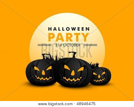 Halloween party banner, flyer or poster with scary pumpkins on yellow background.