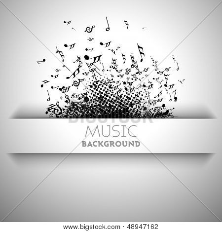 Musical banner, flyer, poster or background with musical notes.