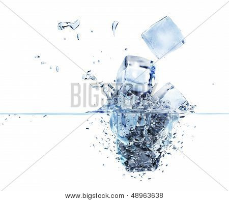 3d rendered ice cubes splashing into water