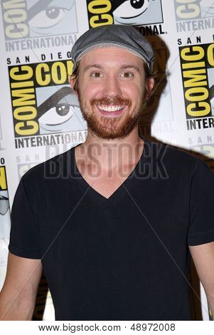 SAN DIEGO, CA - JULY 20: Sam Huntington arrives at the 2013 Comic Con press room at the Hilton San Diego Bayfront hotel on July 20, 2013 in San Diego, CA.