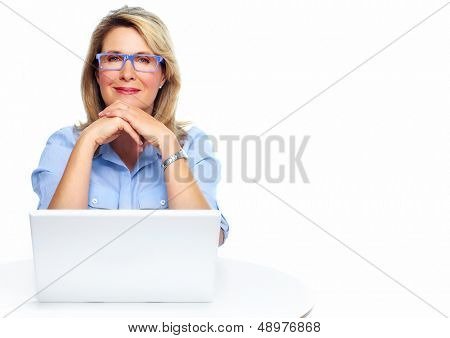 Senior business woman. Isolated over white background.