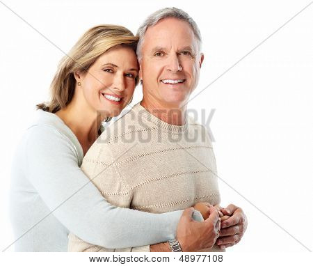 Happy senior couple in love. Isolated on white.