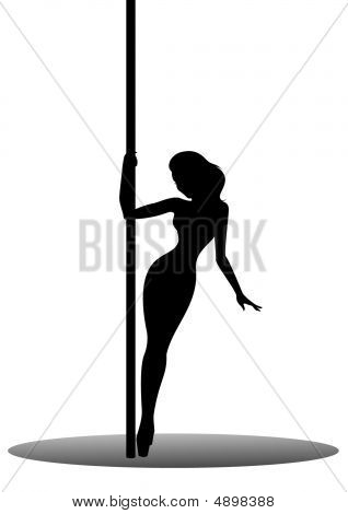 beautiful silhouette of young women dancing a striptease poster