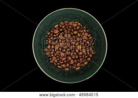 Coffee Beans In Green Bowl