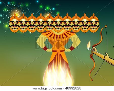 Indian festival Dussehra concept with illustration of Ravan with his ten heads in night background.