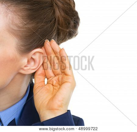 Closeup On Business Woman Listening