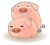 Two cartoon pigs having sex with cunning expression create by vector poster