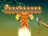 Indian festival Dussehra concept with illustration of Ravan with his ten heads in night background. poster