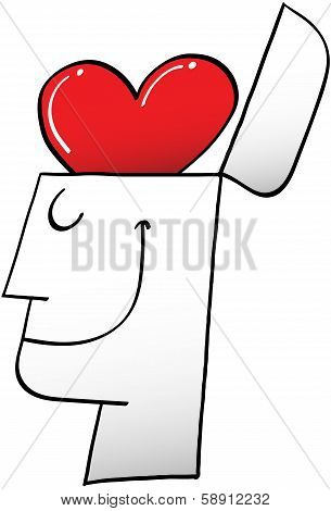 Happy Man with a Heart Brain