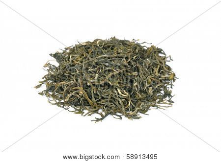 Loose green tea on white background. Type is spring bud green tea