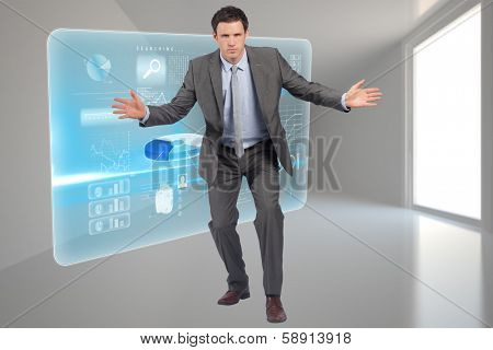Businessman standing with arms out against closed and open doors in sky