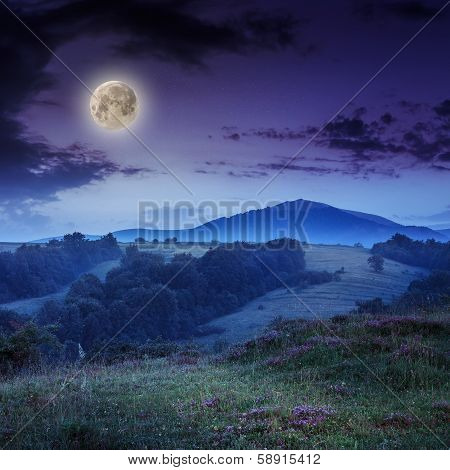 Cold Fog On Hot Sunrise In Mountains At Night