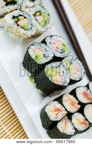Handmade Sushi In Plate Ready To Eat