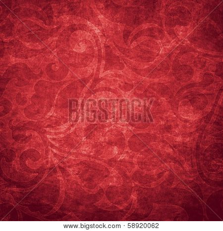 Old shabby red wallpaper for background
