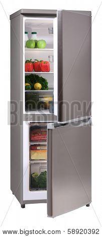 Open two door INOX refrigerator isolated on white