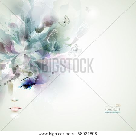 Beautiful fashion women face with abstract elements and butterflies