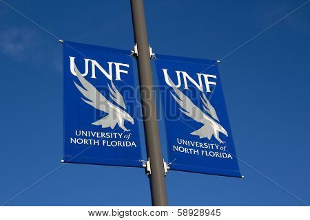 JACKSONVILLE, FL- NOVEMBER 23, 2013: A University of North Florida (UNF) banner on the UNF campus. UNF is organized into 5 colleges with 53 undergraduate programs and 28 graduate programs.