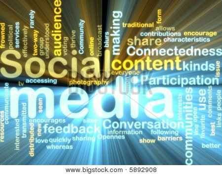 Sociale Media Wordcloud gloeien