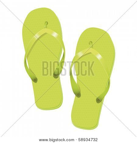 Lime Green Flip Flops Summer Vacation Vector Illustration poster