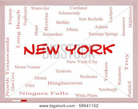New York State Word Cloud Concept On A Whiteboard