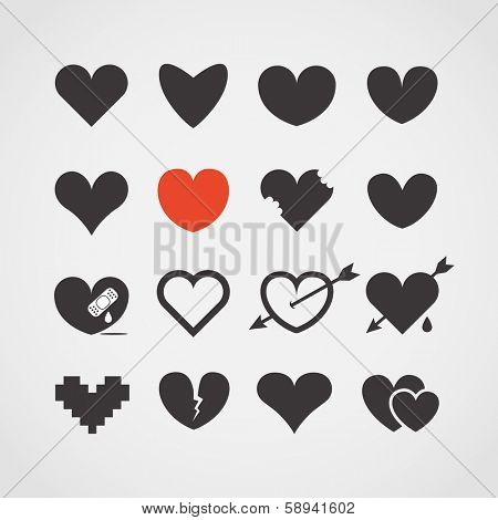 Different abstract heart icons collection