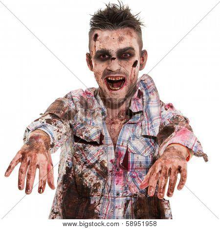 Creepy zombie on a white background
