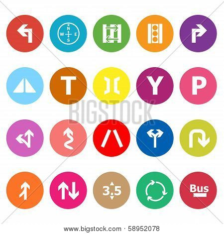 Traffic Sign Flat Icons On White Background