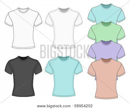 Men's short sleeve t-shirt design templates (front  view). Vector illustration. No mesh. Redact very easy!