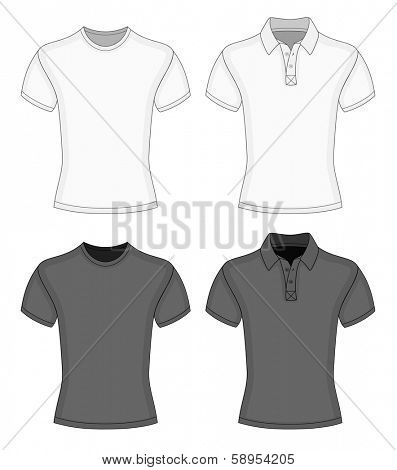 Men's white and black short sleeve t-shirt and polo-shirt design templates (front view). Vector illustration. No mesh. Redact very easy!