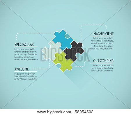 Puzzle piece flat infographics business concept vector